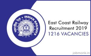 East Coast Railway Recruitment (2019) – 1,216 Vacancies for Apprentice, Last Date: 06-01-2020